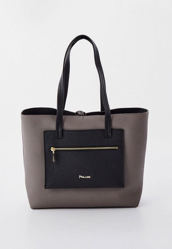 женская сумка с ручками pollini, бежевая