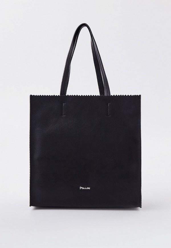 женская сумка с ручками pollini, черная