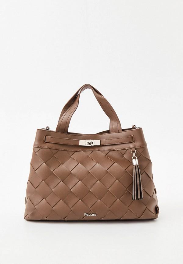 женская сумка с ручками pollini, коричневая