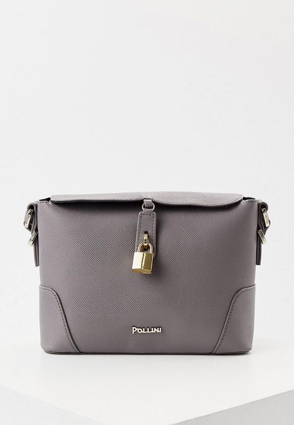 женская сумка через плечо pollini, серая
