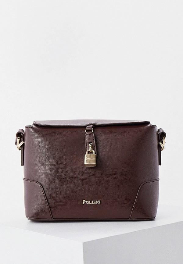 женская сумка через плечо pollini, коричневая
