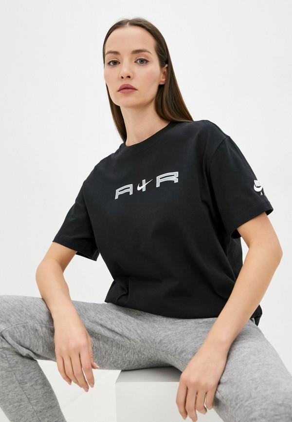 женская спортивные футболка nike, черная