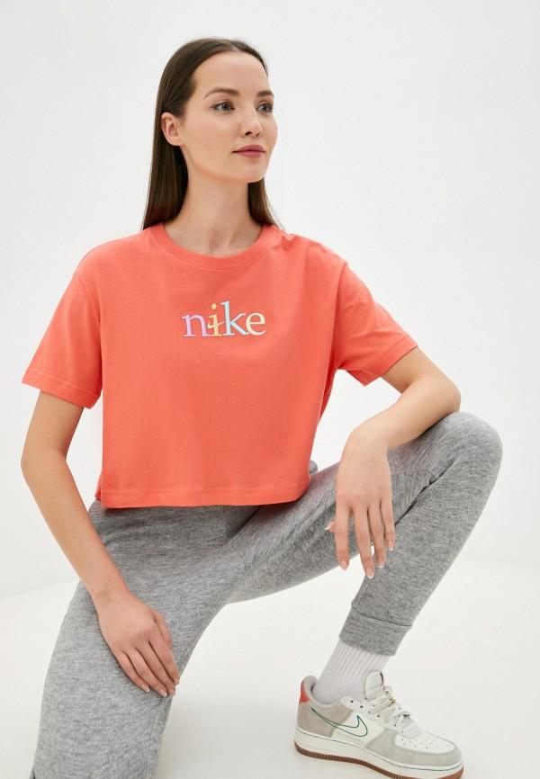 женская спортивные футболка nike, розовая