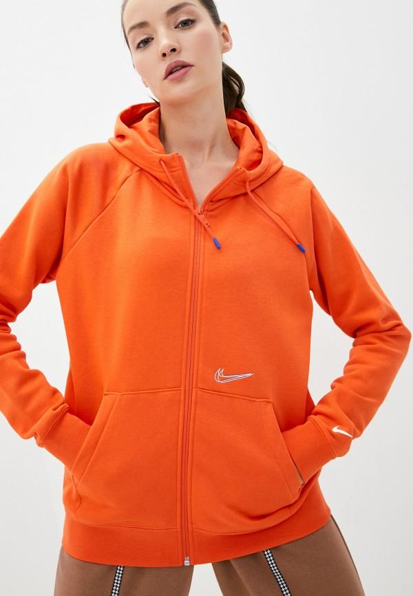 женская спортивные толстовка nike, оранжевая