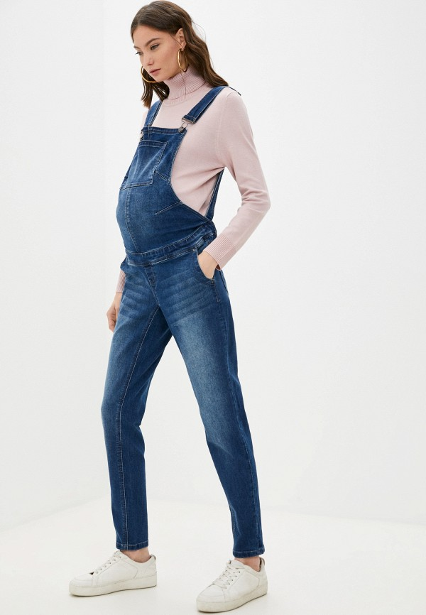 женский джинсовые комбинезон mamalicious, синий