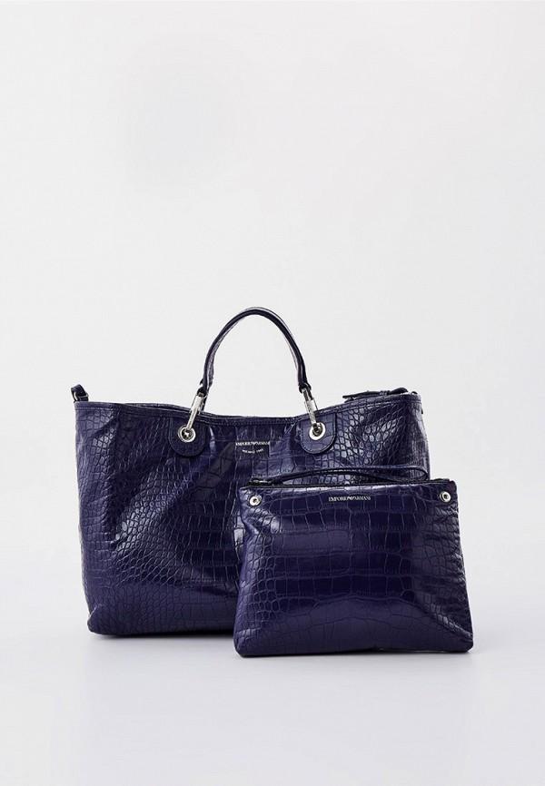 женская сумка с ручками emporio armani, синяя