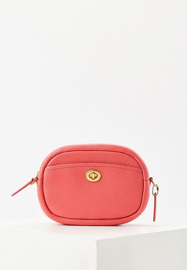 женская сумка через плечо coach, розовая