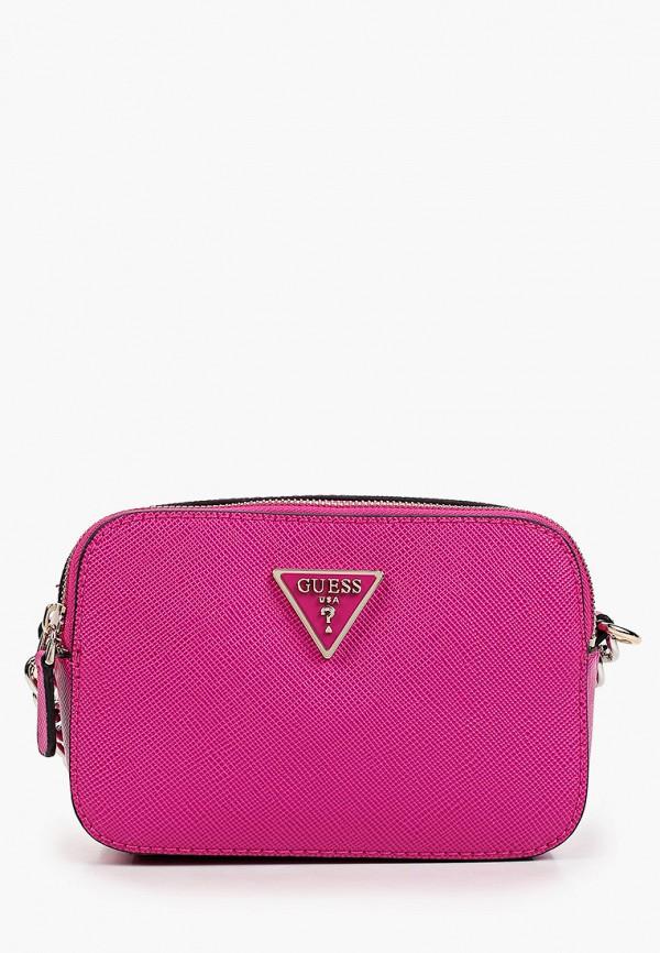 женская сумка через плечо guess, фиолетовая