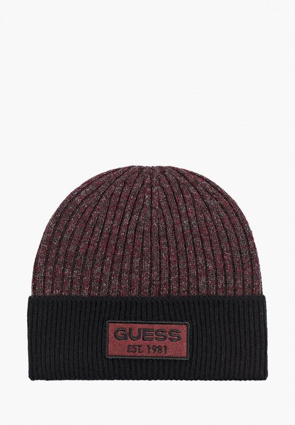мужская шапка guess, бордовая