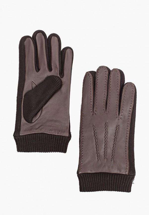 мужские кожаные перчатки fabretti, коричневые