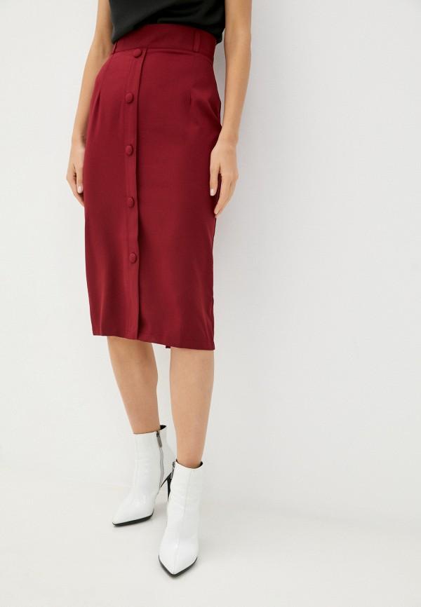 женская прямые юбка rene santi, бордовая