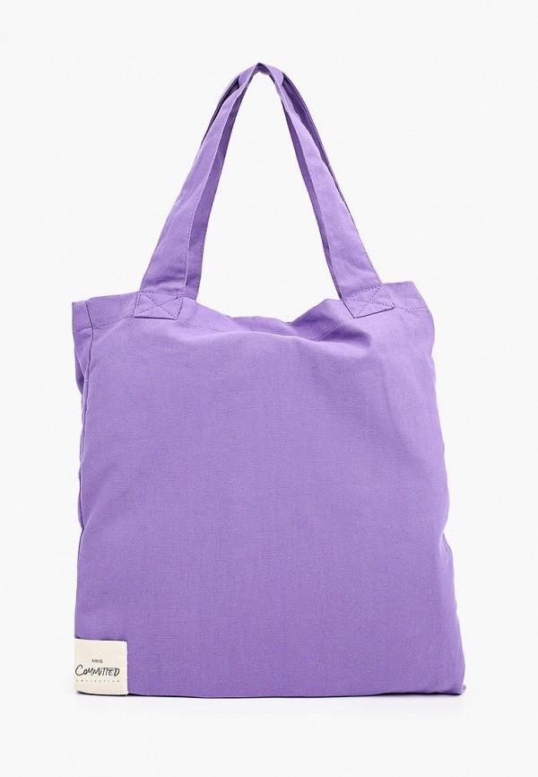 женская сумка mango, фиолетовая
