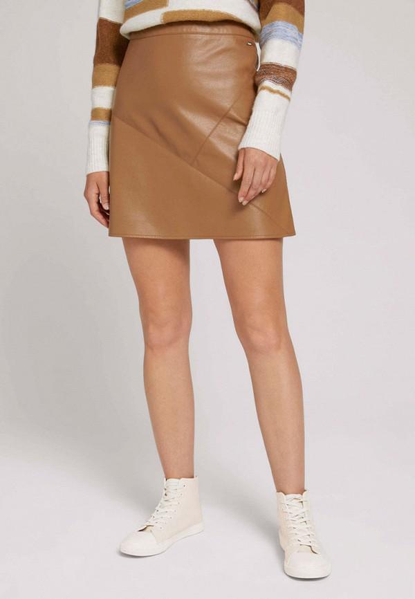 женская кожаные юбка tom tailor, коричневая