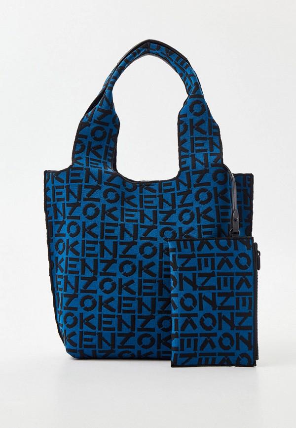 женская сумка с ручками kenzo, синяя