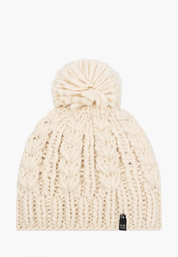 женская шапка roxy, бежевая