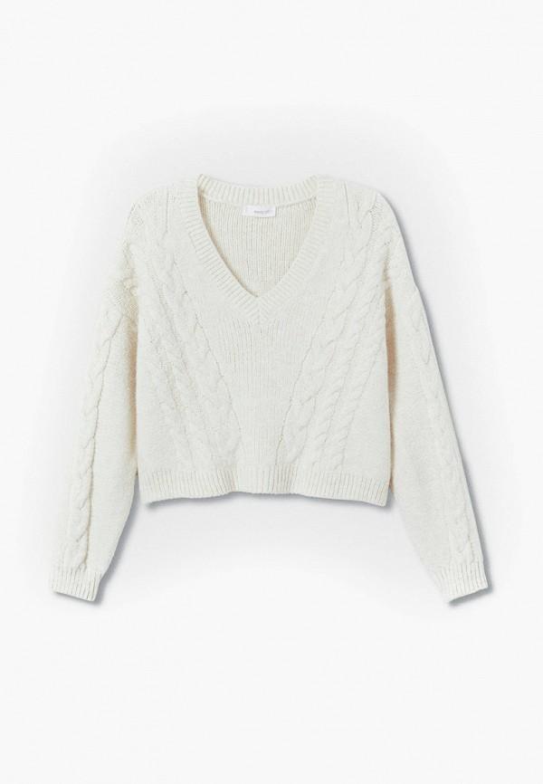пуловер mango kids для девочки, белый