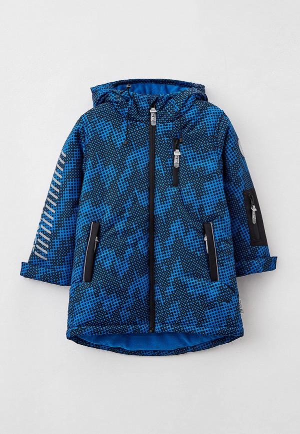утепленные куртка button blue для мальчика, синяя