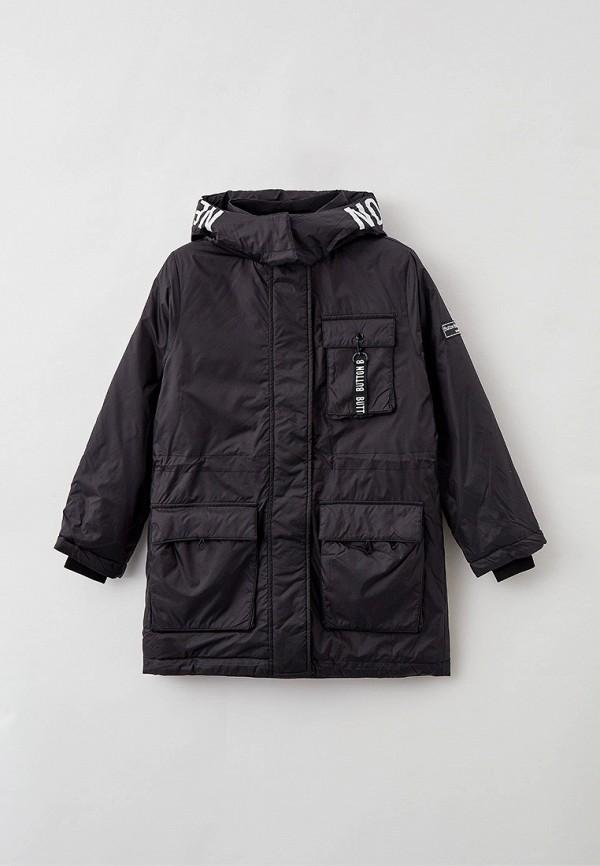 утепленные куртка button blue для девочки, черная
