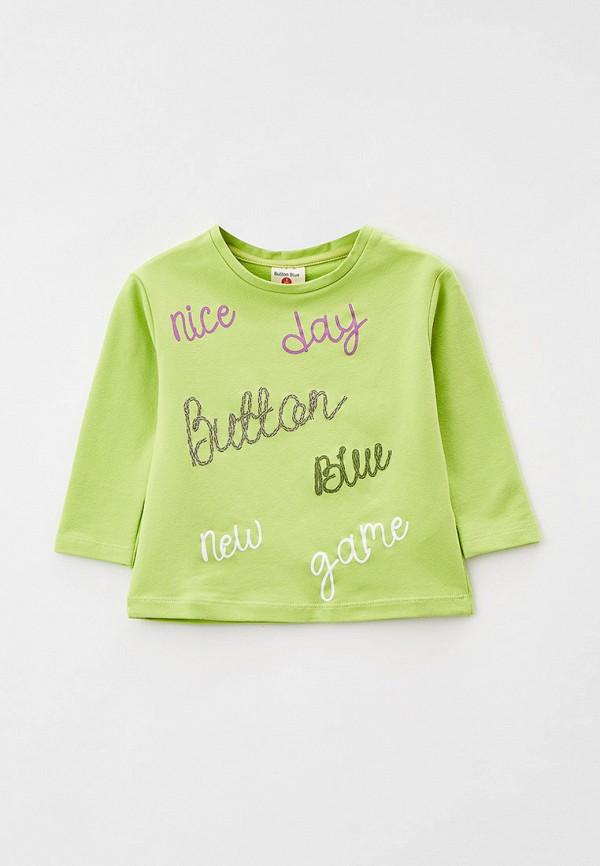 лонгслив button blue для девочки, зеленый