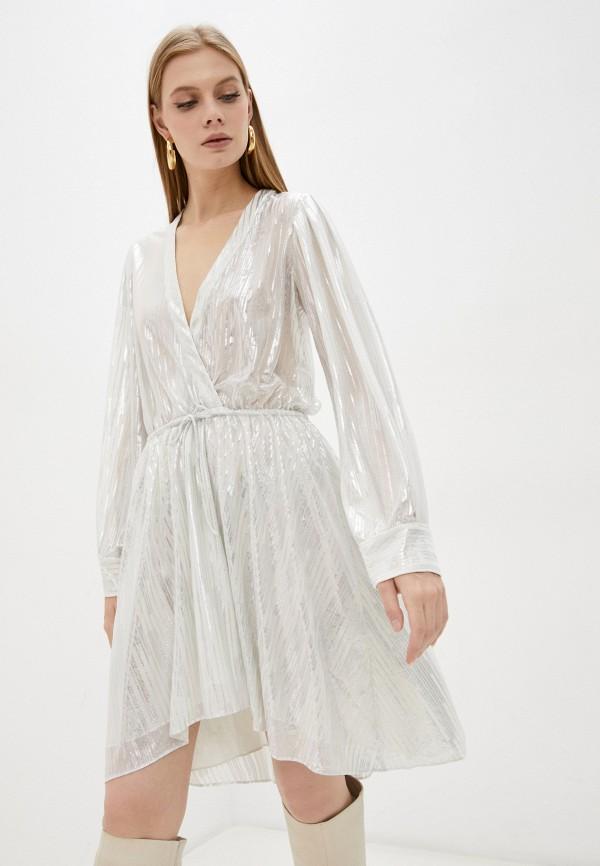 женское платье с запахом iro, серебряное