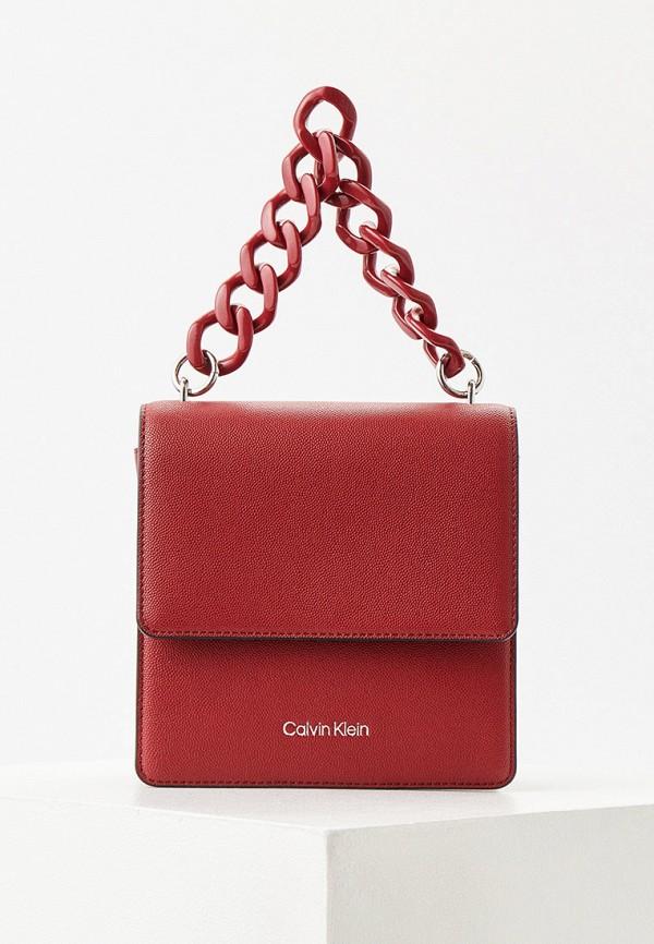 женская сумка с ручками calvin klein, бордовая