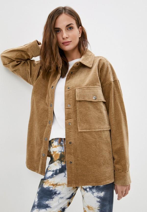 женская рубашка с длинным рукавом unq, коричневая