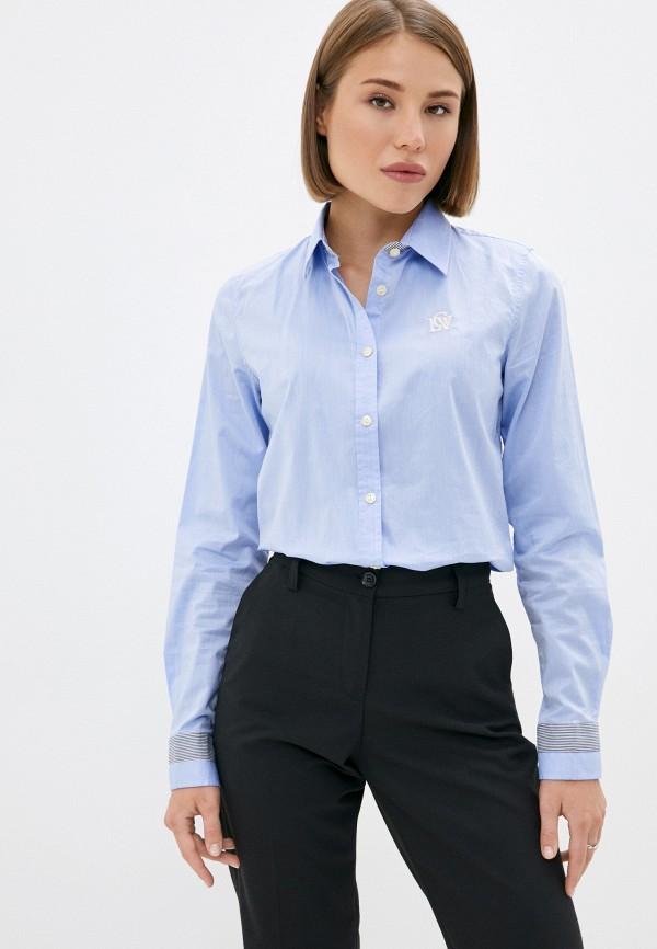 женская рубашка с длинным рукавом galvanni, голубая