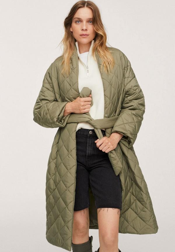 женская утепленные куртка mango, хаки
