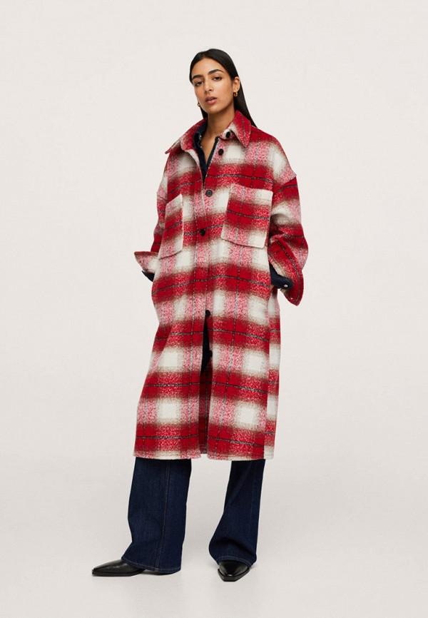 женское пальто mango, красное