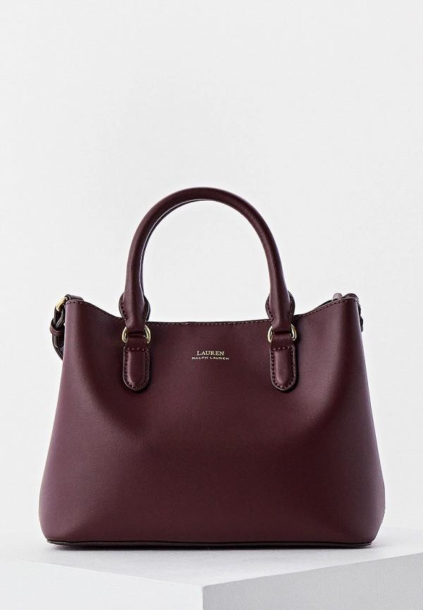 женская сумка с ручками lauren ralph lauren, бордовая