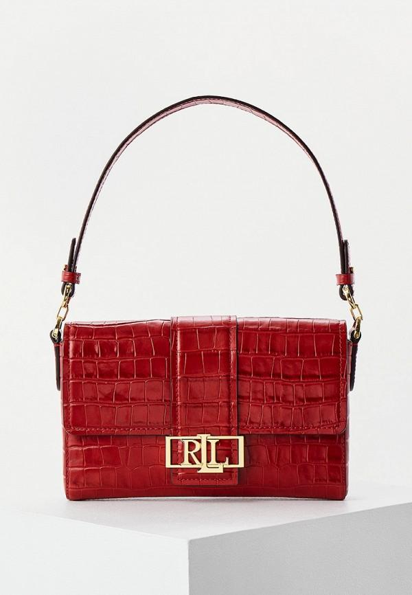 женская сумка с ручками lauren ralph lauren, красная
