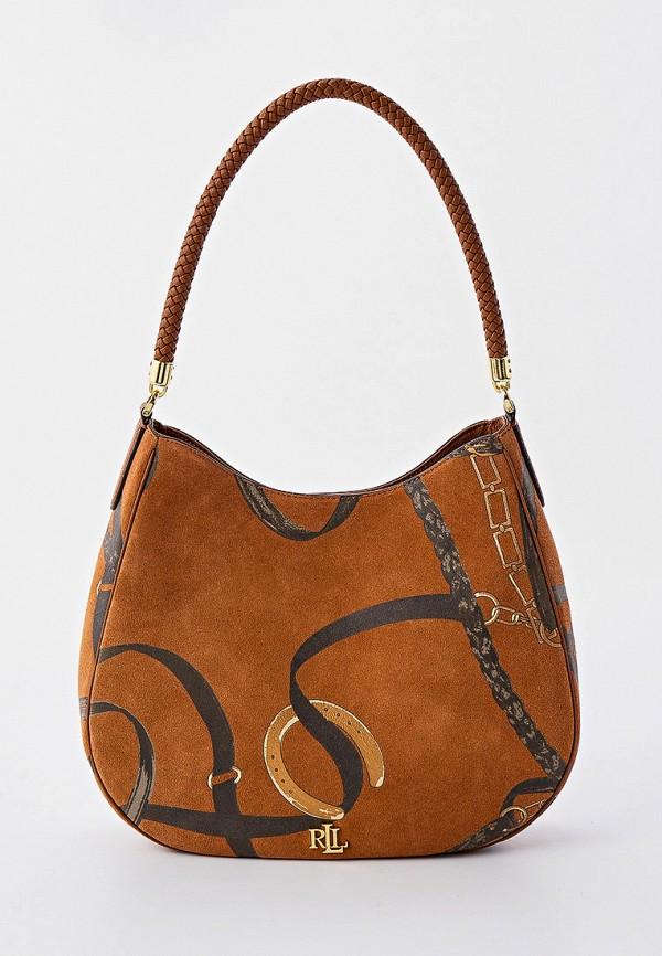 женская сумка с ручками lauren ralph lauren, коричневая