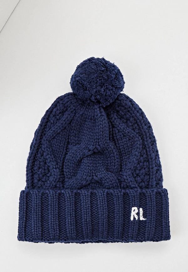 женская шапка polo ralph lauren, синяя
