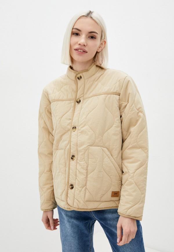 женская утепленные куртка lee, бежевая