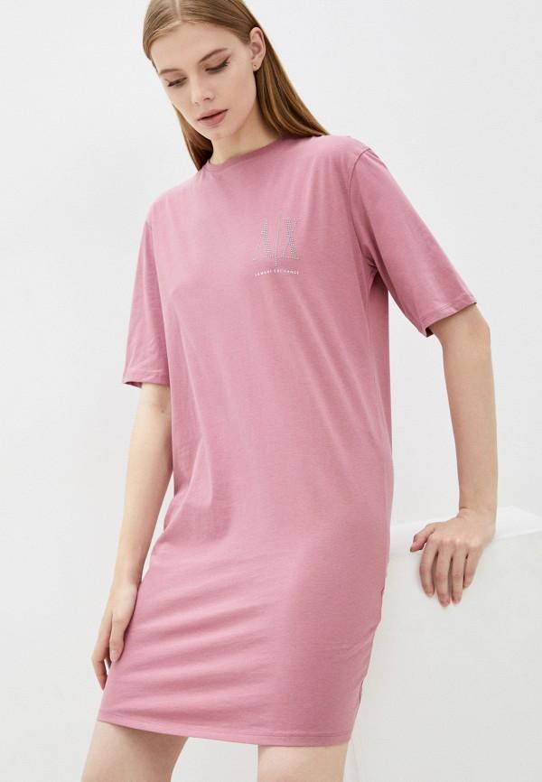 женское платье armani exchange, розовое