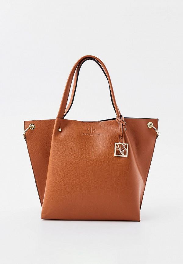женская сумка с ручками armani exchange, коричневая