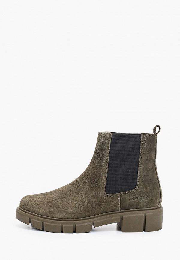 женские высокие ботинки marco tozzi, хаки