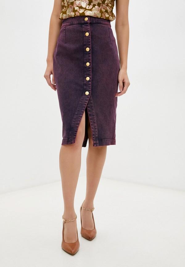 женская джинсовые юбка l'autre chose, бордовая