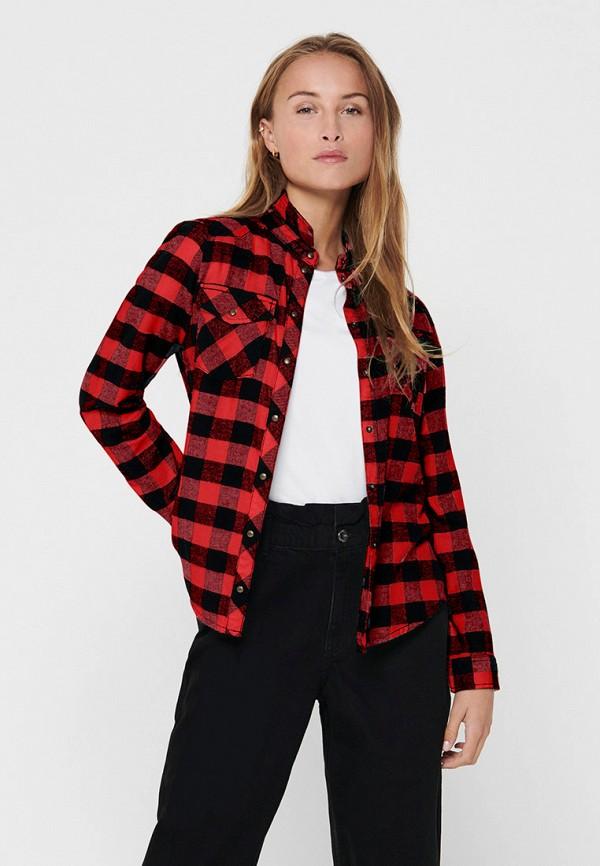 женская рубашка с длинным рукавом only, красная