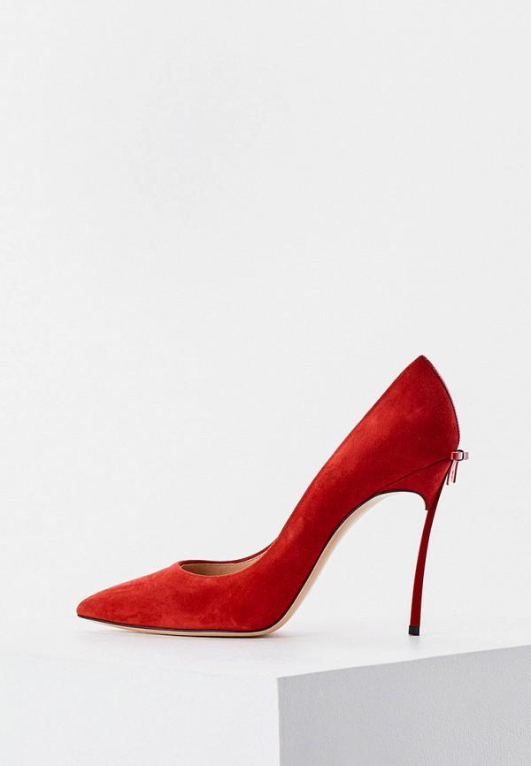 женские туфли-лодочки casadei, красные