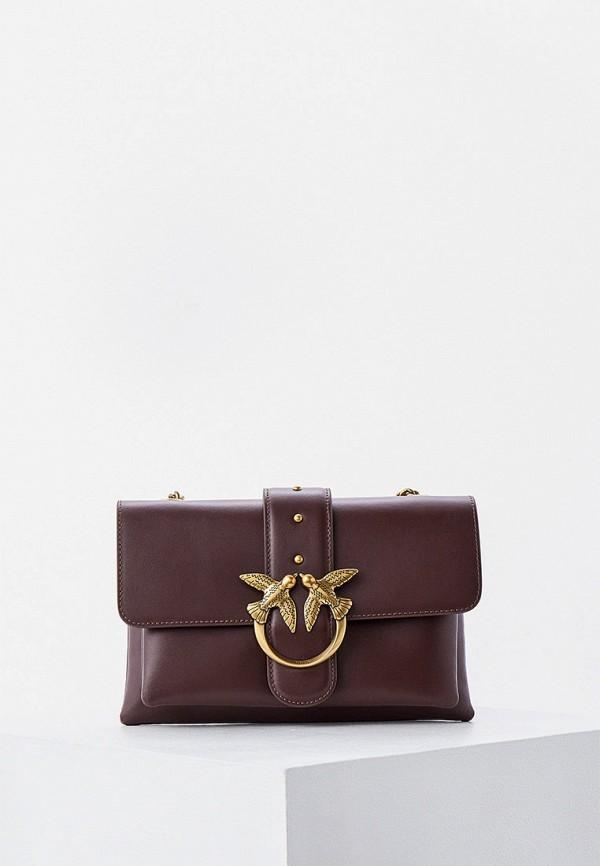 женская сумка через плечо pinko, коричневая