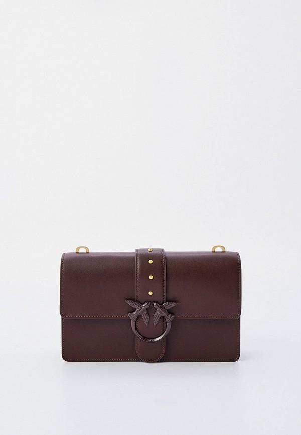 женская сумка с ручками pinko, коричневая