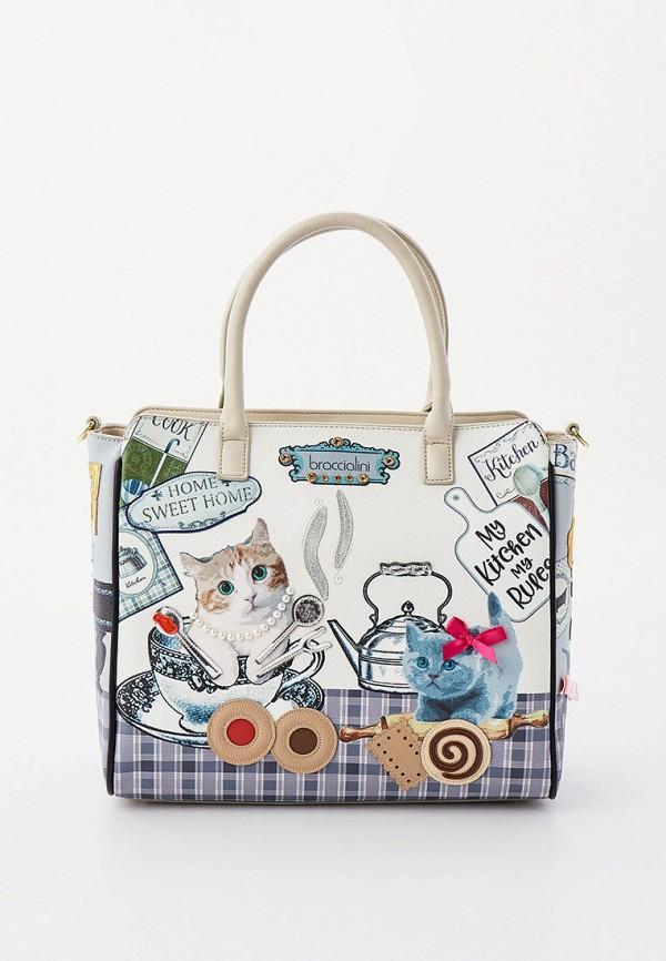 женская сумка с ручками braccialini, бежевая