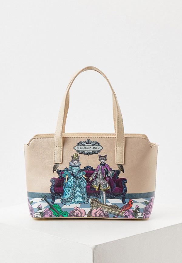 женская сумка braccialini, бежевая