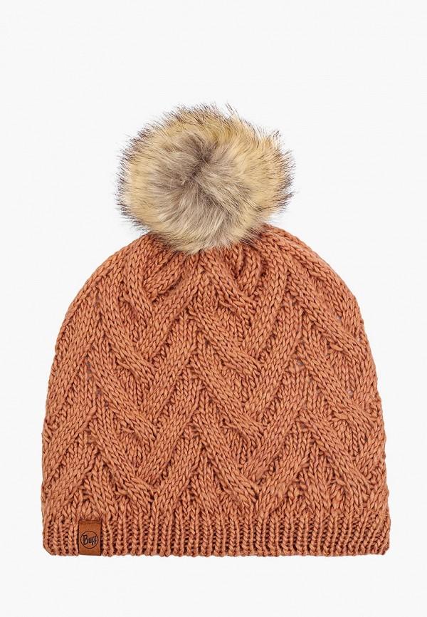 женская шапка buff, коричневая