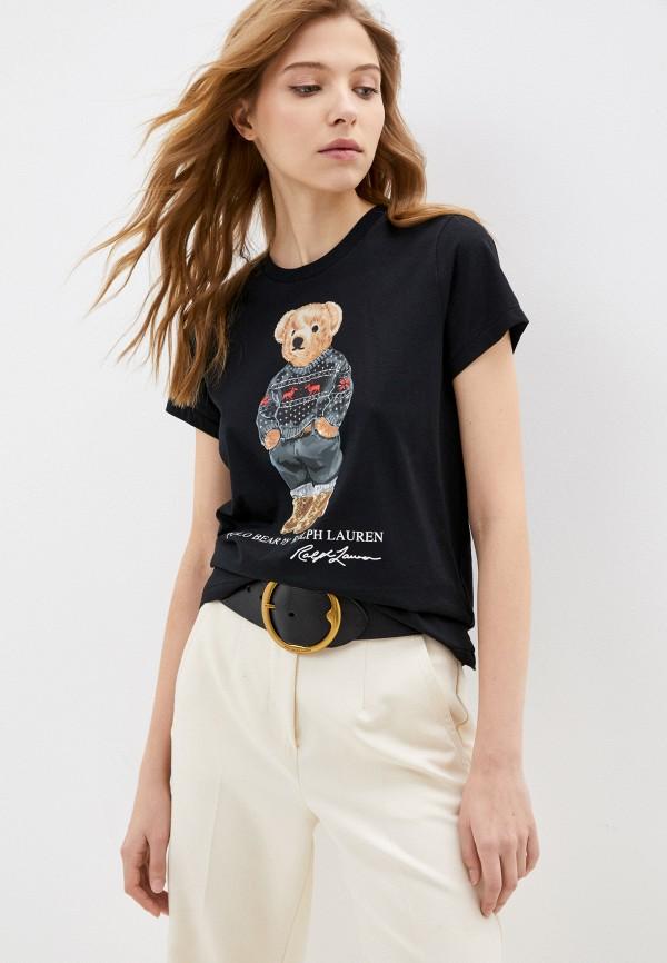 женская футболка polo ralph lauren, черная