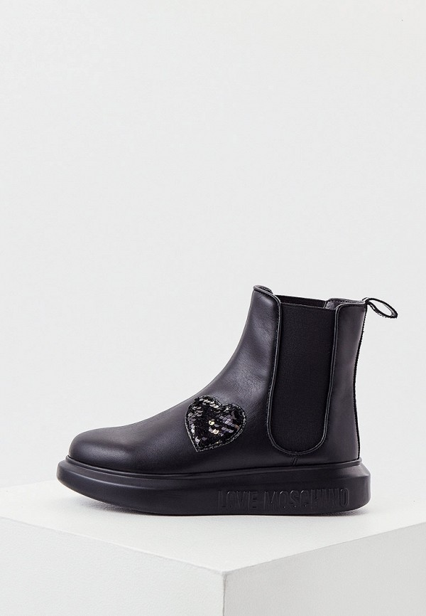 женские ботинки-челси love moschino, черные