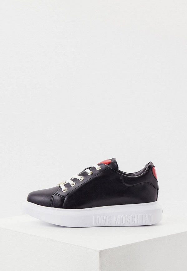 женские низкие кроссовки love moschino, черные