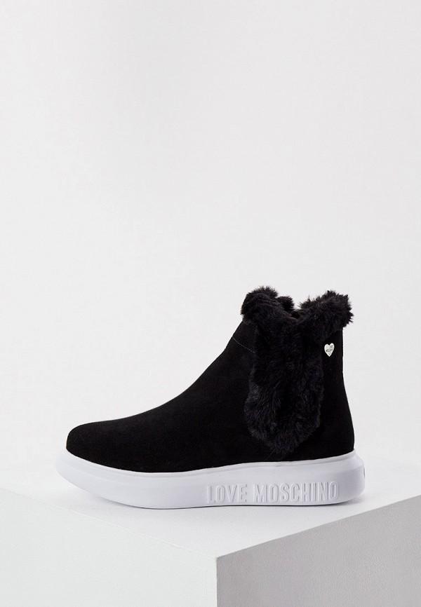 женские высокие ботинки love moschino, черные