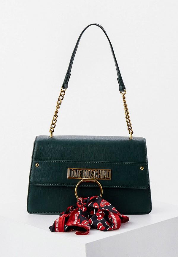 женская сумка с ручками love moschino, зеленая